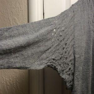 Free People gray sweater long sleeves asymmetric M